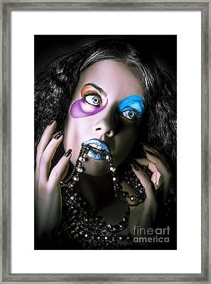 Alternative Fashion Model Face. Bright Makeup Framed Print by Jorgo Photography - Wall Art Gallery