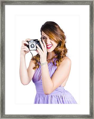 Amateur Photographer Practising With Retro Camera Framed Print by Jorgo Photography - Wall Art Gallery