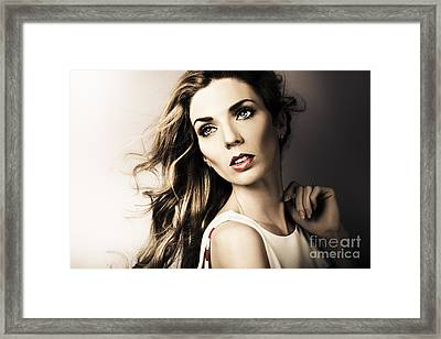 Amazing Brunette Woman. Beautiful Long Wavy Hair Framed Print by Jorgo Photography - Wall Art Gallery