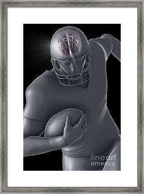 American Football Player Framed Print by Science Picture Co