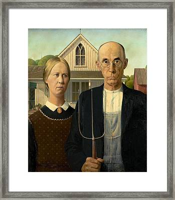 American Gothic Framed Print by Grant Wood