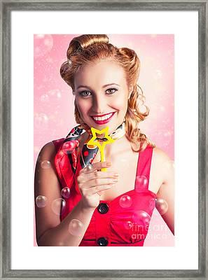 American Pinup Flight Hostess Giving Star Service Framed Print by Jorgo Photography - Wall Art Gallery