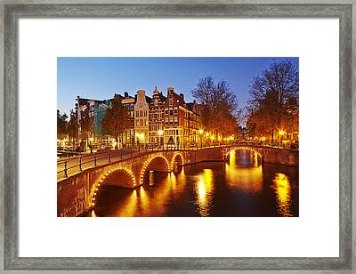 Amsterdam - Old Houses At The Keizersgracht In The Evening Framed Print by Olaf Schulz