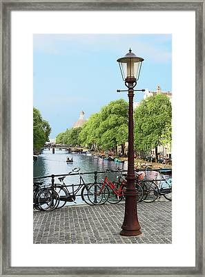 Amsterdam, Holland, Old Gas Lamp Post Framed Print by Miva Stock