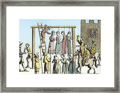 An Execution Of Witches In England Framed Print by English School
