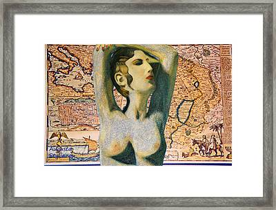 Ancient Middle East Map And Aphrodite Framed Print by Augusta Stylianou