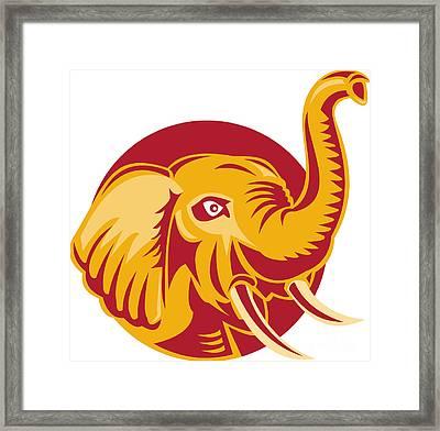 Angry African Elephant Head Retro Framed Print by Aloysius Patrimonio