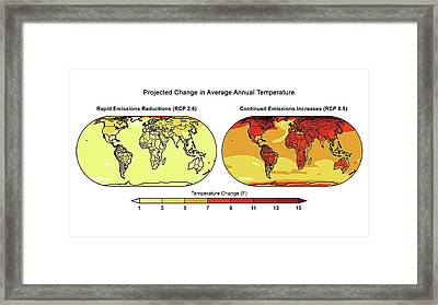Annual Temperature Change Framed Print by Lawrence Berkeley National Laboratory