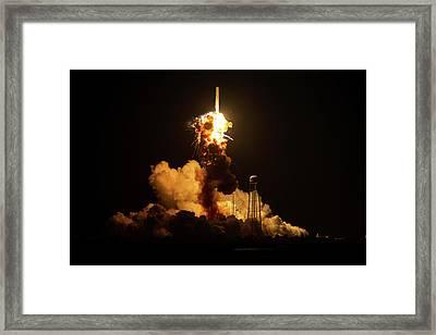Antares Rocket Explosion Framed Print by Nasa/joel Kowsky