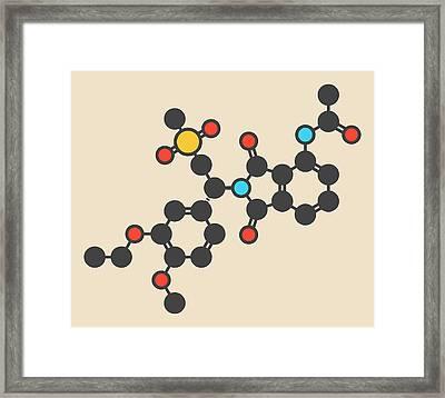 Apremilast Psoriasis Drug Molecule Framed Print by Molekuul