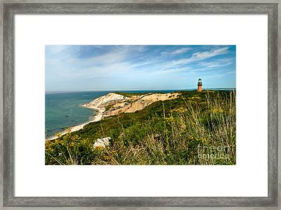 Aquinnah Gay Head Lighthouse Marthas Vineyard Massachusetts Framed Print by Michelle Wiarda