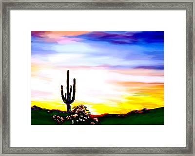 Arizona Saguaro Tonto National Monument Framed Print by Bob and Nadine Johnston
