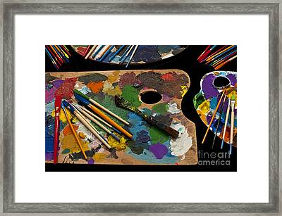 Artist Palette With Brushes Framed Print by Jim Corwin