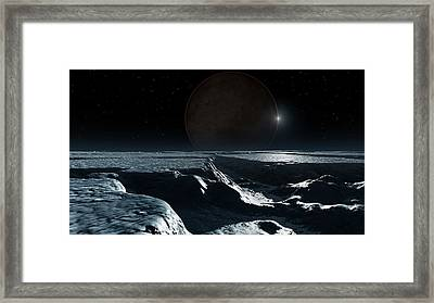 Artwork Of Pluto Seen From Charon Framed Print by Mark Garlick