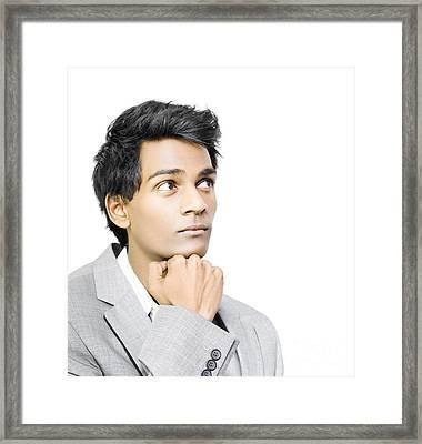 Asian Businessman In Deep Contemplation Framed Print by Jorgo Photography - Wall Art Gallery