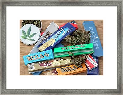 Assorted Cannabis Products Framed Print by Adam Hart-davis