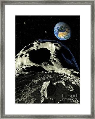 Asteroids Approaching Earth, Artwork Framed Print by Detlev van Ravenswaay