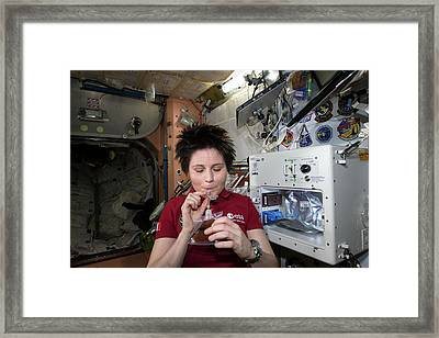 Astronaut Samantha Cristoforetti On Iss Framed Print by Nasa