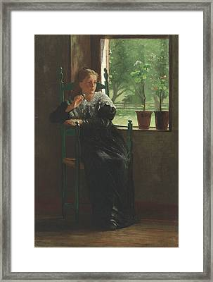 At The Window Framed Print by Winslow Homer