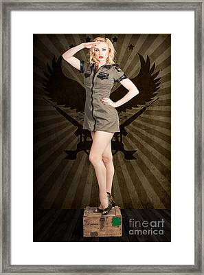 Attractive Blond Pin-up Army Girl. Military Salute Framed Print by Jorgo Photography - Wall Art Gallery