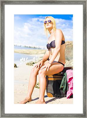 Attractive Blond Traveler On Beach Travel Luggage Framed Print by Jorgo Photography - Wall Art Gallery