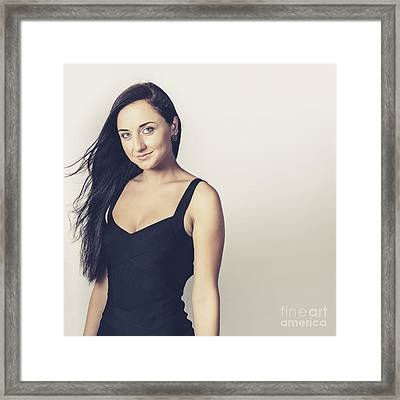 Attractive Brunette Woman In Black Evening Dress Framed Print by Jorgo Photography - Wall Art Gallery