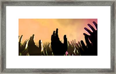 Audience Hands And Lights At Concert Framed Print by Allan Swart