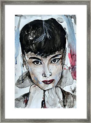 Audrey Hepburn - Abstract Art Framed Print by Ismeta Gruenwald
