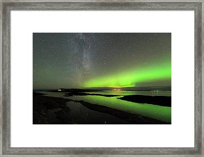 Aurora Borealis And Orionids Framed Print by Tommy Eliassen