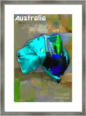 Australia Country Map Watercolor Framed Print by Marvin Blaine