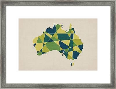 Australia Geometric Retro Map Framed Print by Michael Tompsett