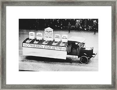 Auto Safety Parade Framed Print by Underwood Archives