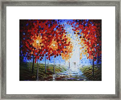 Autumn Beauty Original Palette Knife Painting Framed Print by Georgeta Blanaru