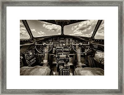 Cockpit Of A B-17 Framed Print by Mike Burgquist