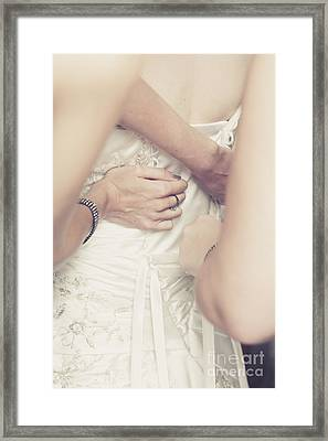 Back Of Wedding Dress With Helping Hands Of Bridesmaids Framed Print by Jorgo Photography - Wall Art Gallery