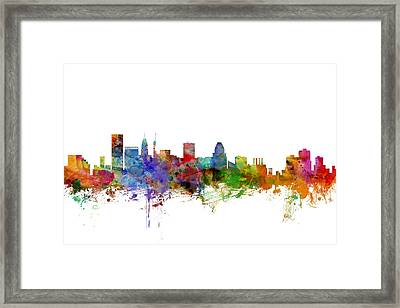 Baltimore Maryland Skyline Framed Print by Michael Tompsett