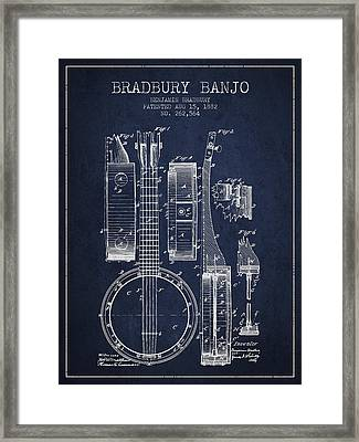 Banjo Patent Drawing From 1882 - Blue Framed Print by Aged Pixel