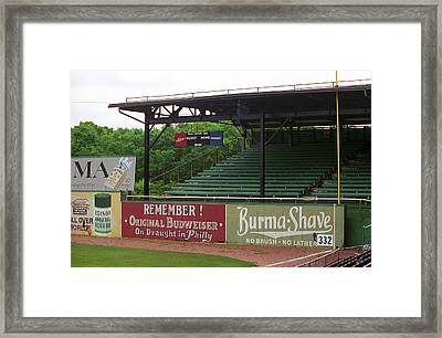 Baseball Field Burma Shave Sign Framed Print by Frank Romeo