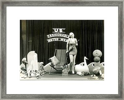 Bathing Suits Store Display Framed Print by Underwood Archives