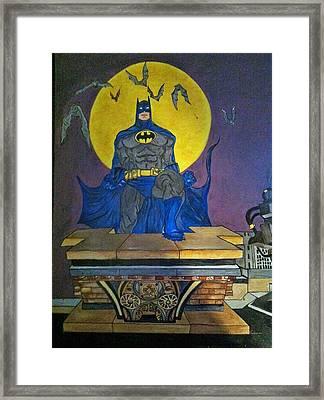 Batman On The Roof Top Framed Print by Brenda Brown