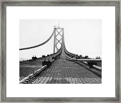 Bay Bridge Under Construction Framed Print by Ray Hassman