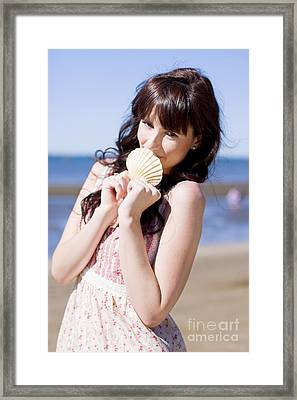 Beach Vacation Woman Framed Print by Jorgo Photography - Wall Art Gallery