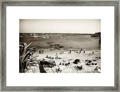 Beach View In Cascais Framed Print by John Rizzuto
