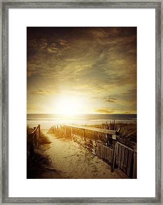Beachlight Framed Print by Les Cunliffe