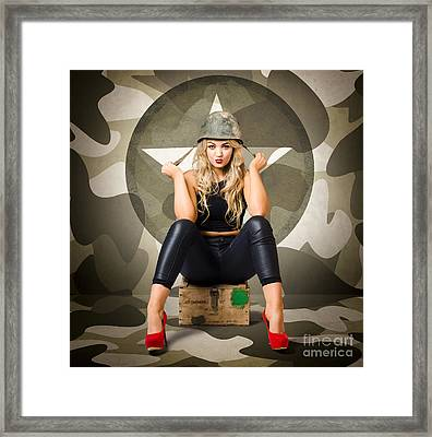 Beautiful Army Pinup Woman On Ammo Box Framed Print by Jorgo Photography - Wall Art Gallery
