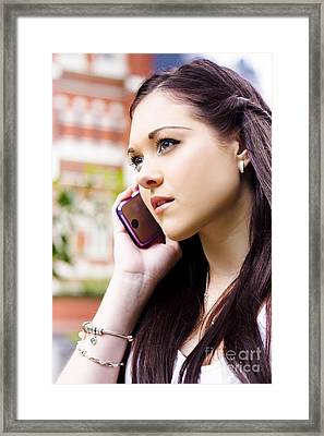 Beautiful Business Woman On Smart Mobile Phone Framed Print by Jorgo Photography - Wall Art Gallery