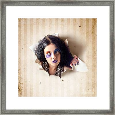 Beautiful Female Jester Breaking Out Of Wallpaper Framed Print by Jorgo Photography - Wall Art Gallery
