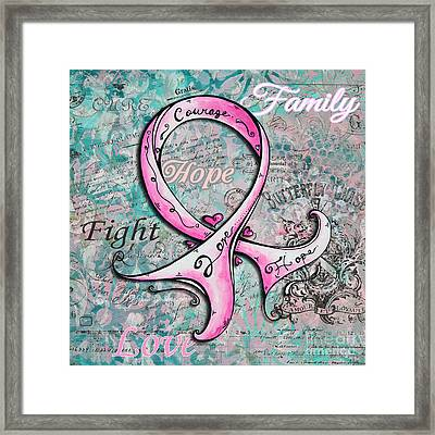 Beautiful Inspirational Elegant Pink Ribbon Design Art For Breast Cancer Awareness Framed Print by Megan Duncanson