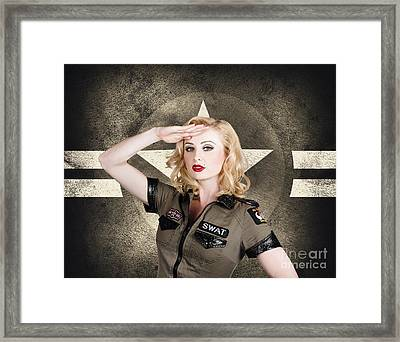 Beautiful Pinup Girl In Vintage And Retro Fashion Framed Print by Jorgo Photography - Wall Art Gallery