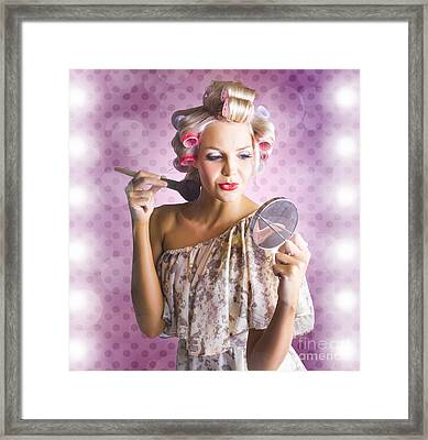Beautiful Retro Woman Applying Makeup Cosmetics Framed Print by Jorgo Photography - Wall Art Gallery